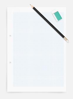 Matita e gomma sul fondo del foglio di carta da disegno.
