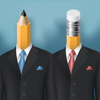 Concetto di affari di uomini matita e gomma