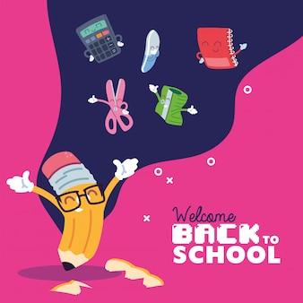 Matita e set di icone per cartoni animati, lezione di educazione alla scuola