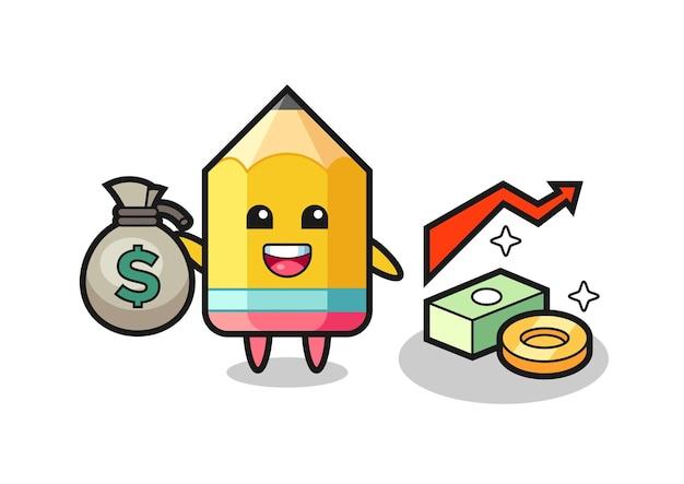 Fumetto dell'illustrazione della matita che tiene il sacco dei soldi, disegno di stile carino per maglietta, adesivo, elemento logo