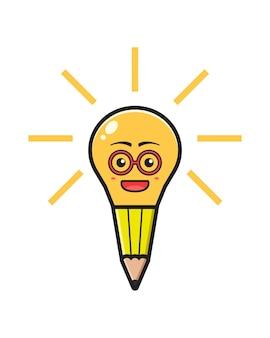 La lampada a matita ha un'idea dell'icona del fumetto. design piatto isolato in stile cartone animato isolated