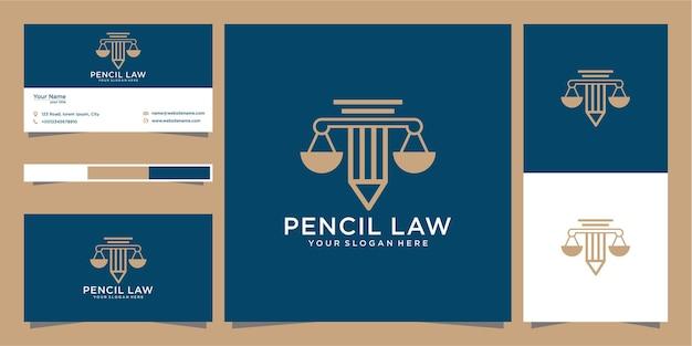 Disegno di marchio di legge a matita e biglietto da visita