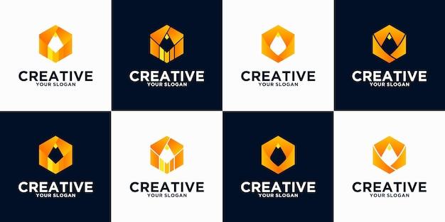 Collezione di riferimenti con logo a matita per affari, applicazioni, istruzione e altri