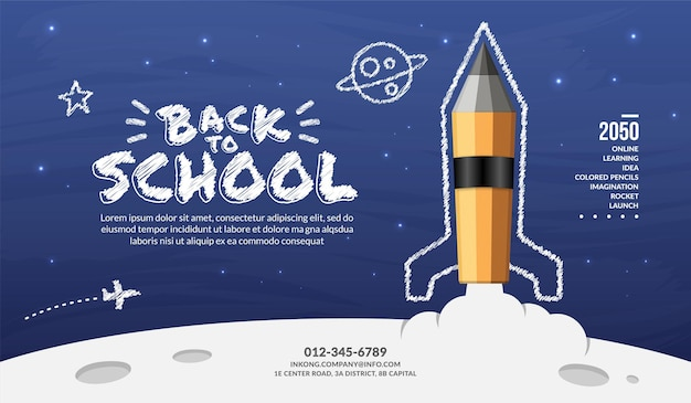 Razzo a matita che lancia sullo sfondo dello spazio, il concetto di bentornato a scuola