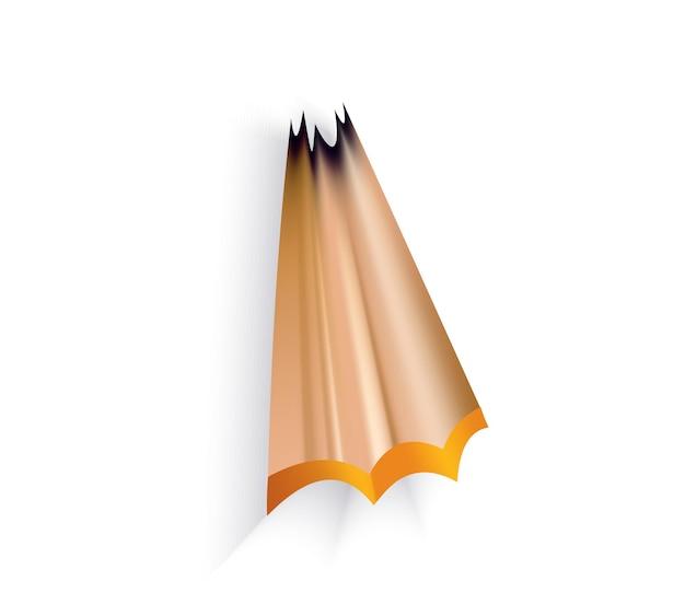 Trucioli di matita con bacchetta di grafite. icona del fumetto di colore per il web design. design realistico dell'elemento isolato su sfondo bianco, illustrazione vettoriale