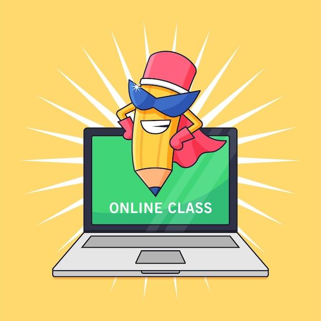 Matita super eroe che insegna lezione online per la scuola da casa attività illustrazione vettoriale design