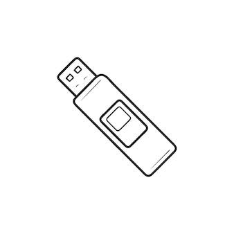 Icona di doodle di pendrive contorni disegnati a mano. unità flash, memory stick, pendrive usb, concetto di dispositivo di archiviazione