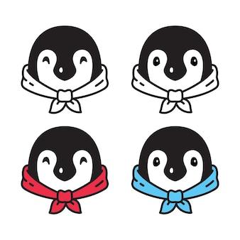 Illustrazione del fumetto del carattere del papillon dell'uccello del pinguino
