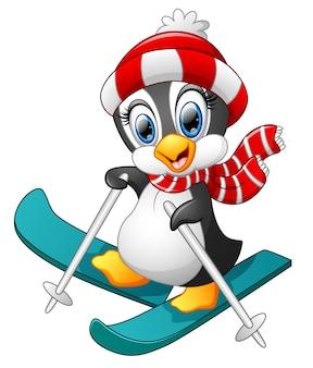 Sci di cartone animato pinguino