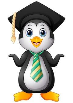 Cartone animato pinguino con tappo di laurea e cravatta a righe