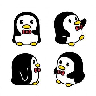 Illustrazione dell'uccello del fumetto del carattere del pinguino