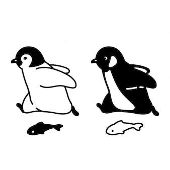 Illustrazione corrente dell'uccello del fumetto del carattere del pinguino