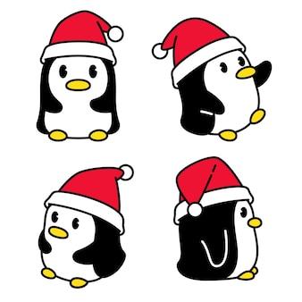 Pinguino natale babbo natale cartoon