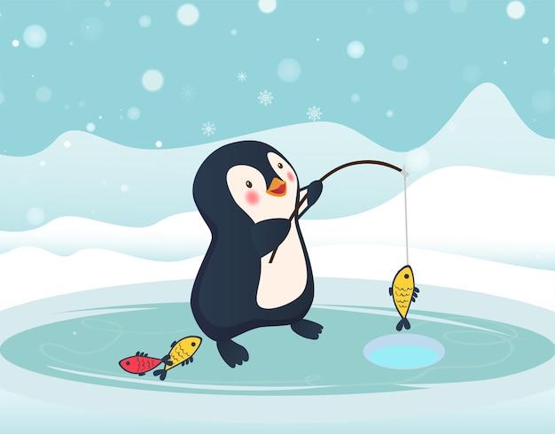 Il pescatore del pinguino ha pescato il pesce. pesca sul ghiaccio