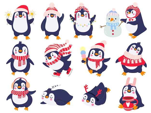 Pinguino. pinguini carini disegnati a mano in abbigliamento invernale e cappello, auguri di buon natale animali in capispalla, set vettoriale di cartoni animati per bambini. pinguino animale inverno, illustrazione schizzo vacanza carattere