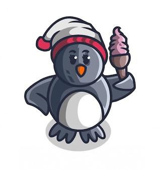 Mascotte del gelato della stretta del pinguino