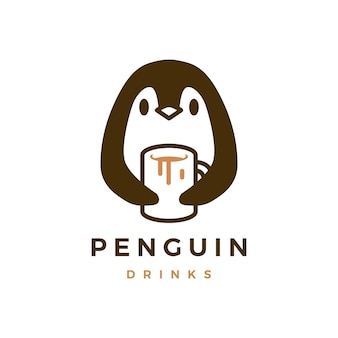 Pinguino abbraccio tazza caffè icona logo