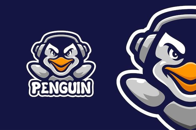Il modello di logo del personaggio mascotte pinguino
