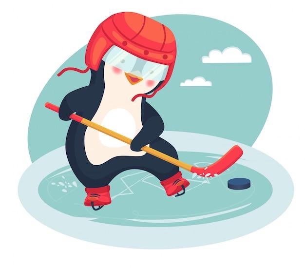 Il pinguino gioca a hockey su ghiaccio in inverno