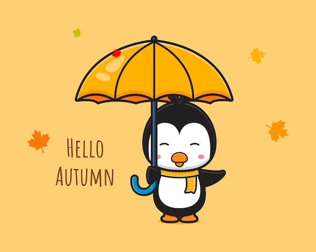 Pinguino che dice ciao autunno banner icona del fumetto illustrazione design piatto isolato in stile cartone animato