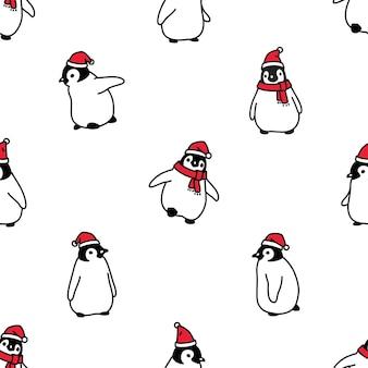 Cappello di babbo natale di natale del modello senza cuciture del pinguino