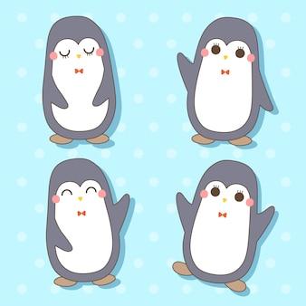 Pinguino - set di simpatici animali kawaii charactor illustrazione