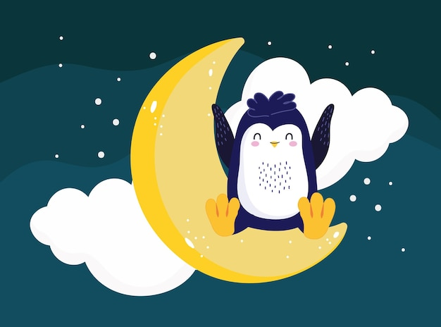 Pinguino seduto scena notturna della luna