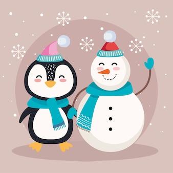 Cartone animato pinguino e pupazzo di neve con disegno del cappello di buon natale, stagione invernale e tema della decorazione