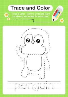 Traccia del pinguino e traccia del foglio di lavoro prescolare a colori