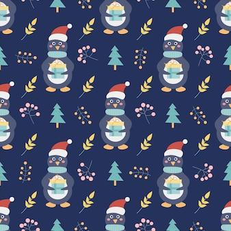 Pinguino con un regalo e alberi di natale e altri elementi decorativi reticolo senza giunte di vettore