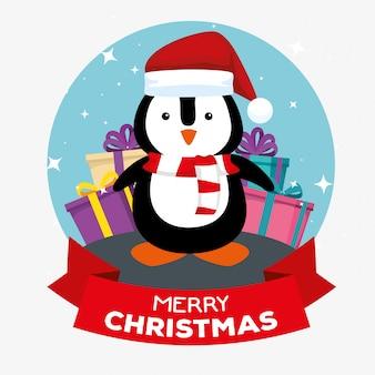 Pinguino con cappello e regali per buon natale