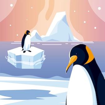 Illustrazione di progettazione del mare del polo nord dell'iceberg degli animali dei pinguini