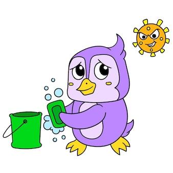 I pinguini si lavano le mani con il sapone in modo da non essere attaccati da virus batterici, illustrazione vettoriale. scarabocchiare icona immagine kawaii.