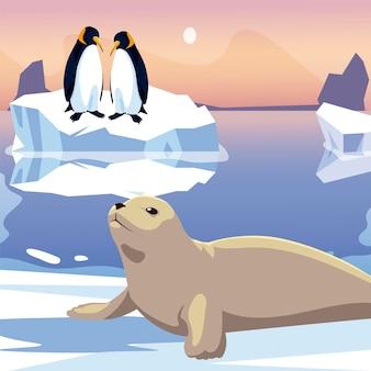 Coppia di pinguini e sigillo nell'illustrazione del mare di iceberg sciolto