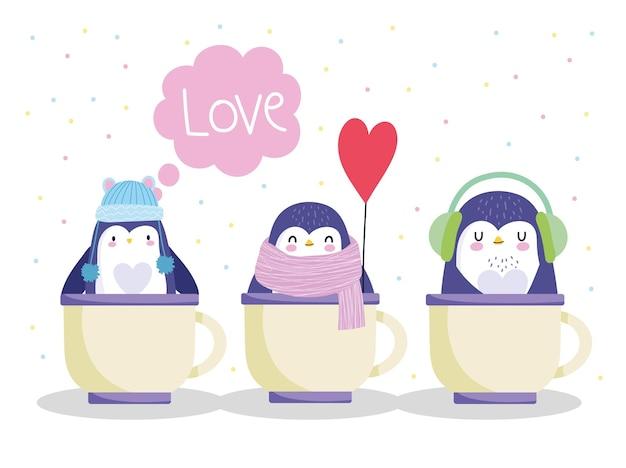 Pinguini in palloncino cappello sciarpa tazze