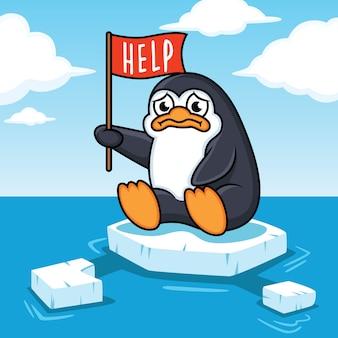 I pinguini galleggiano sull'oceano gli effetti del riscaldamento globale