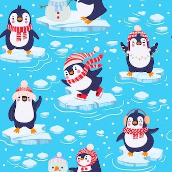 Modello senza cuciture dei pinguini. simpatici pinguini per bambini in abbigliamento e cappelli invernali, animali artici di natale, tessuti per bambini o texture vettoriale di carta da parati. personaggi in piedi su un pezzo di ghiaccio in acqua fredda