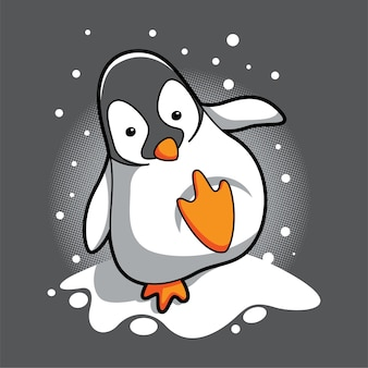 I pinguini camminano sulla neve