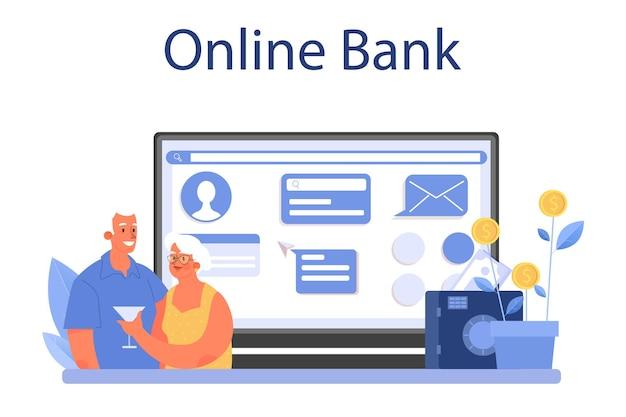 Servizio o piattaforma online per i dipendenti del fondo pensione. lo specialista aiuta le persone anziane a risparmiare denaro per la pensione, l'indipendenza finanziaria. banca in linea. illustrazione piatta vettoriale