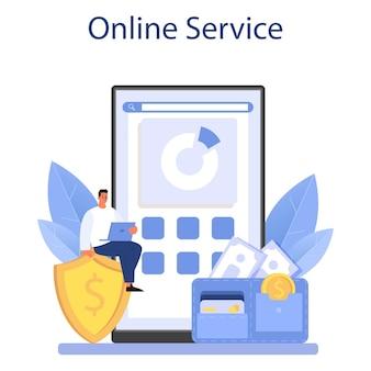 Servizio o piattaforma online per i dipendenti del fondo pensione. illustrazione piatta vettoriale