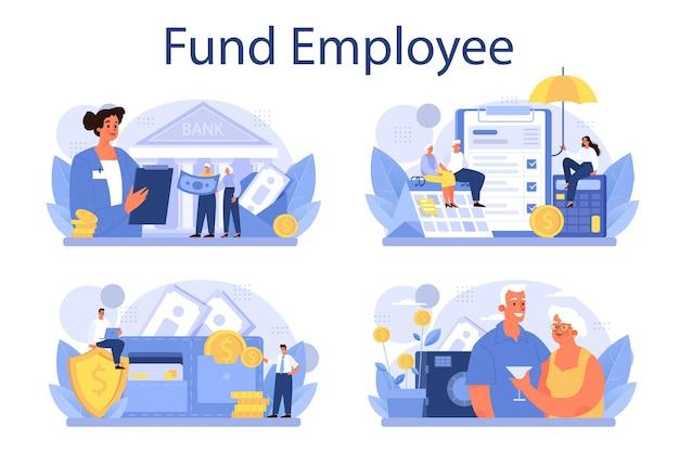 Set di dipendenti del fondo pensione