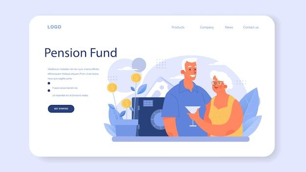 Banner web o pagina di destinazione del dipendente del fondo pensione. specialista aiuta