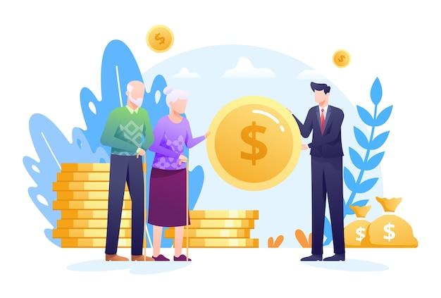 Illustrazione del fondo pensione con agente che dà monete e borsa dei soldi agli anziani come concetto. questa illustrazione può essere utilizzata per sito web, pagina di destinazione, web, app e banner.