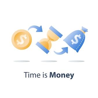 Fondo pensione, investimento a lungo termine, clessidra e borsa, il tempo è denaro, prestito in contanti veloce, denaro facile, crescita del capitale, asset allocation