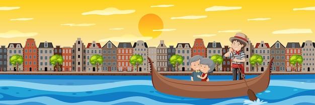 Coppia di pensionati durante il giro in barca