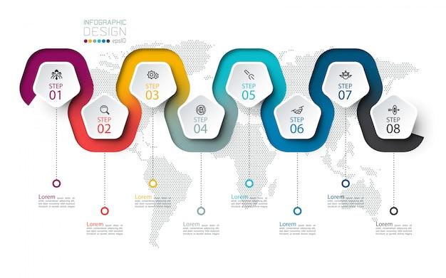 Etichetta del pentagono con linea colorata infografica collegata
