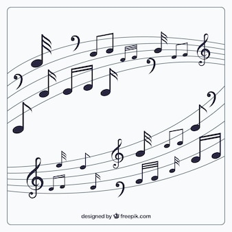 Sfondo pentagramma con note musicali