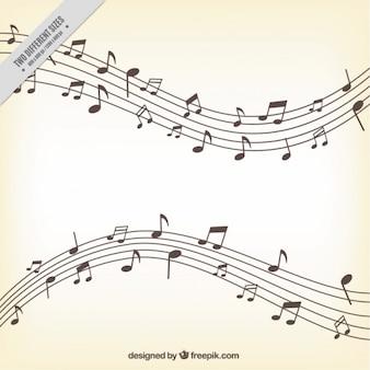 Sfondo pentagram con varie note musicali
