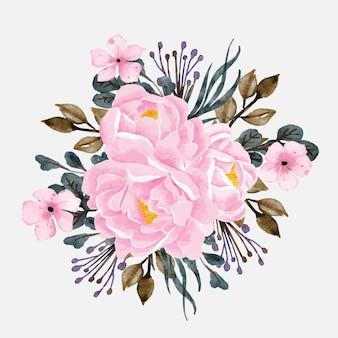 Acquerello floreale del mazzo delle peonie