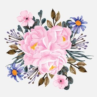 Acquerello di fiori di bouquet di peonie